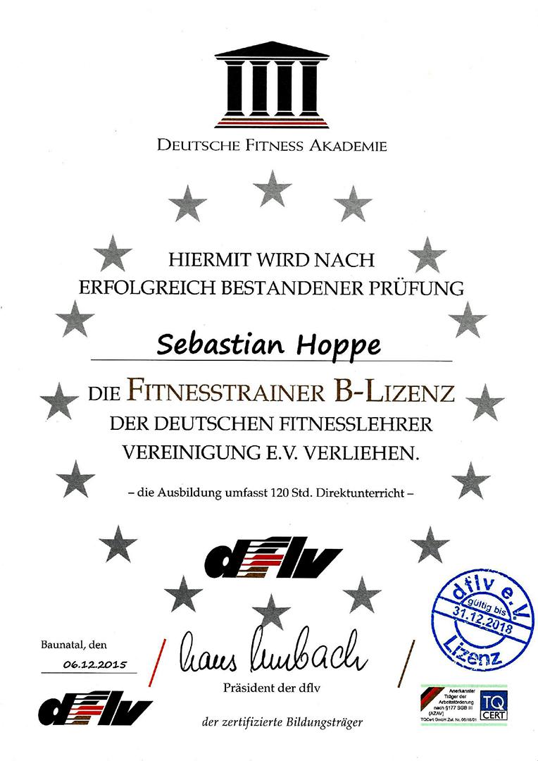 DFLV Urkunde Fitnesstrainer B-Lizenz