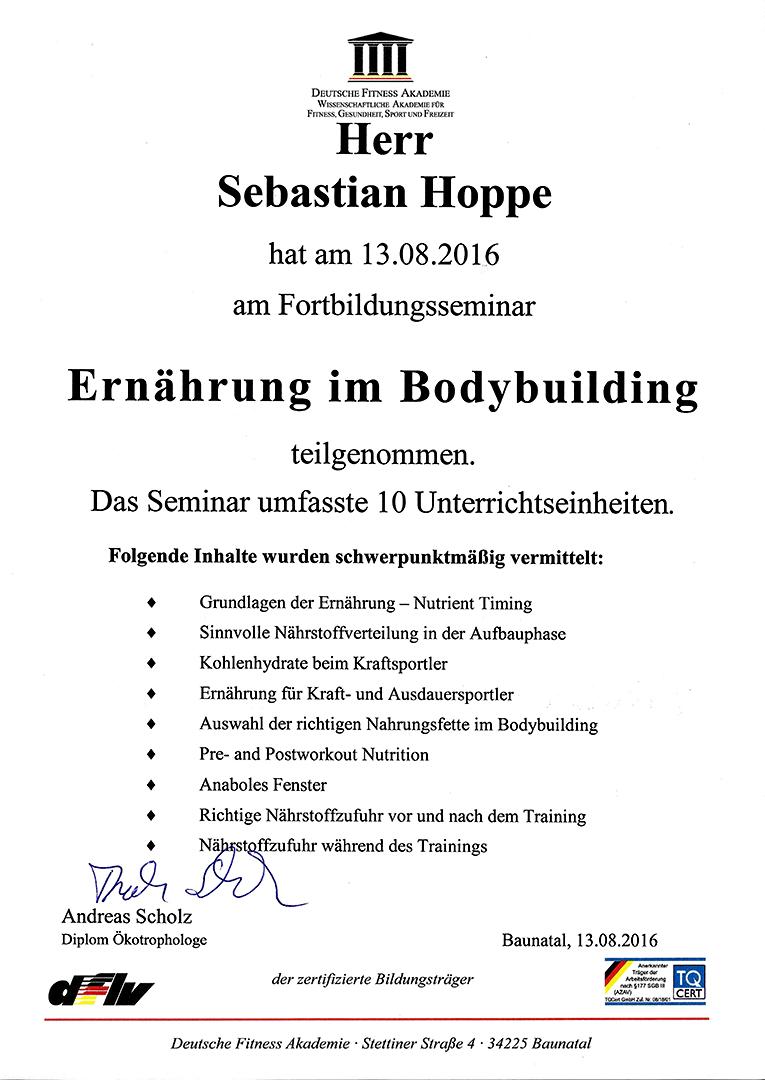 DFLV Urkunde Schulung Ernährung im Bodybuilding