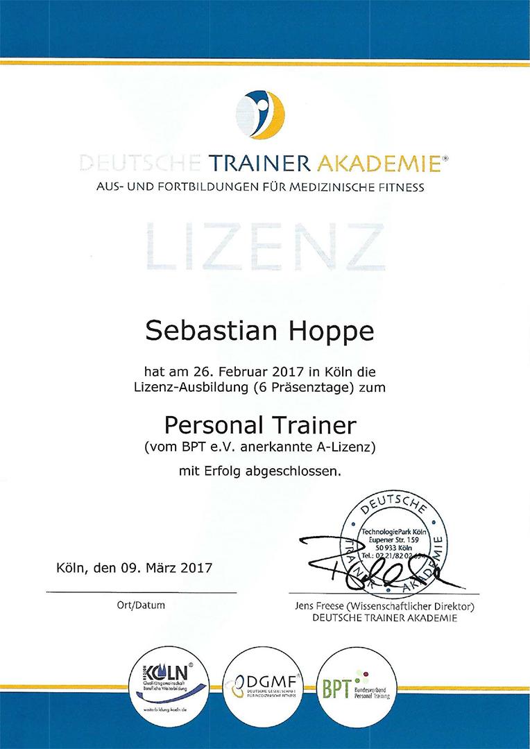 DTA Urkunde Personaltrainer A-Lizenz