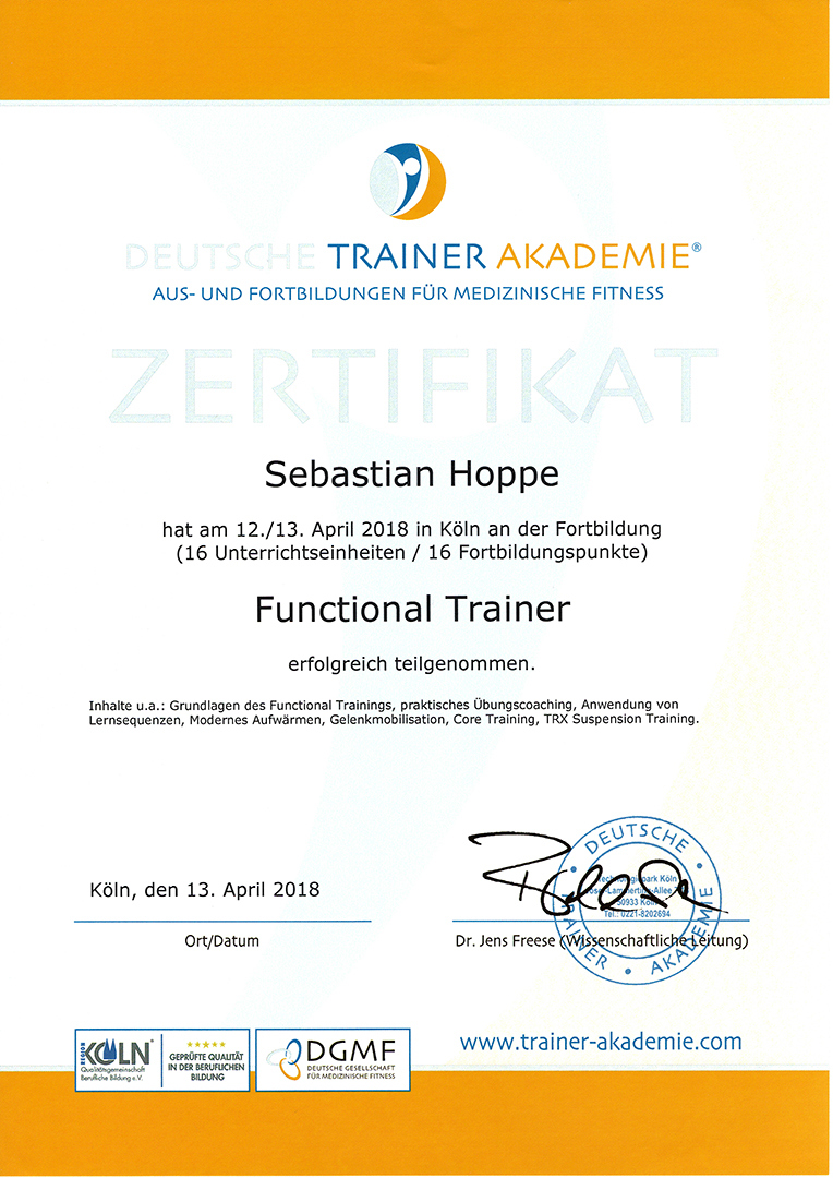 DTA Urkunde Functional Training